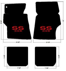 NEW 1967-1969 Camaro Floor Mats Black Set Carpet Embroidered SS Logo Red Binding