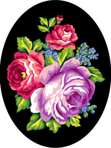 1x Hilo De Lona Impresa Tapiz Flores Fondo Negro Coser Craft 7026
