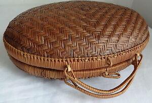 Vtg Japanese Bamboo Wood Purse Oval Moon Handbag Basket Tote Bag