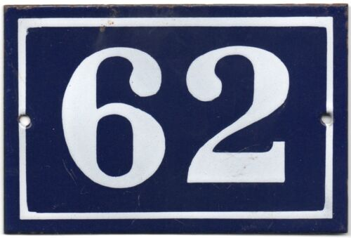pick Old blue French house number 62 door gate wall plate steel enamel sign
