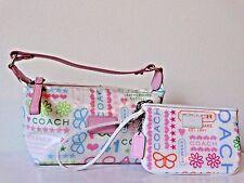 2 PC COACH Bandana  Laminated Set Baguette and Wristlet Cosmetic Bag Cute Travel