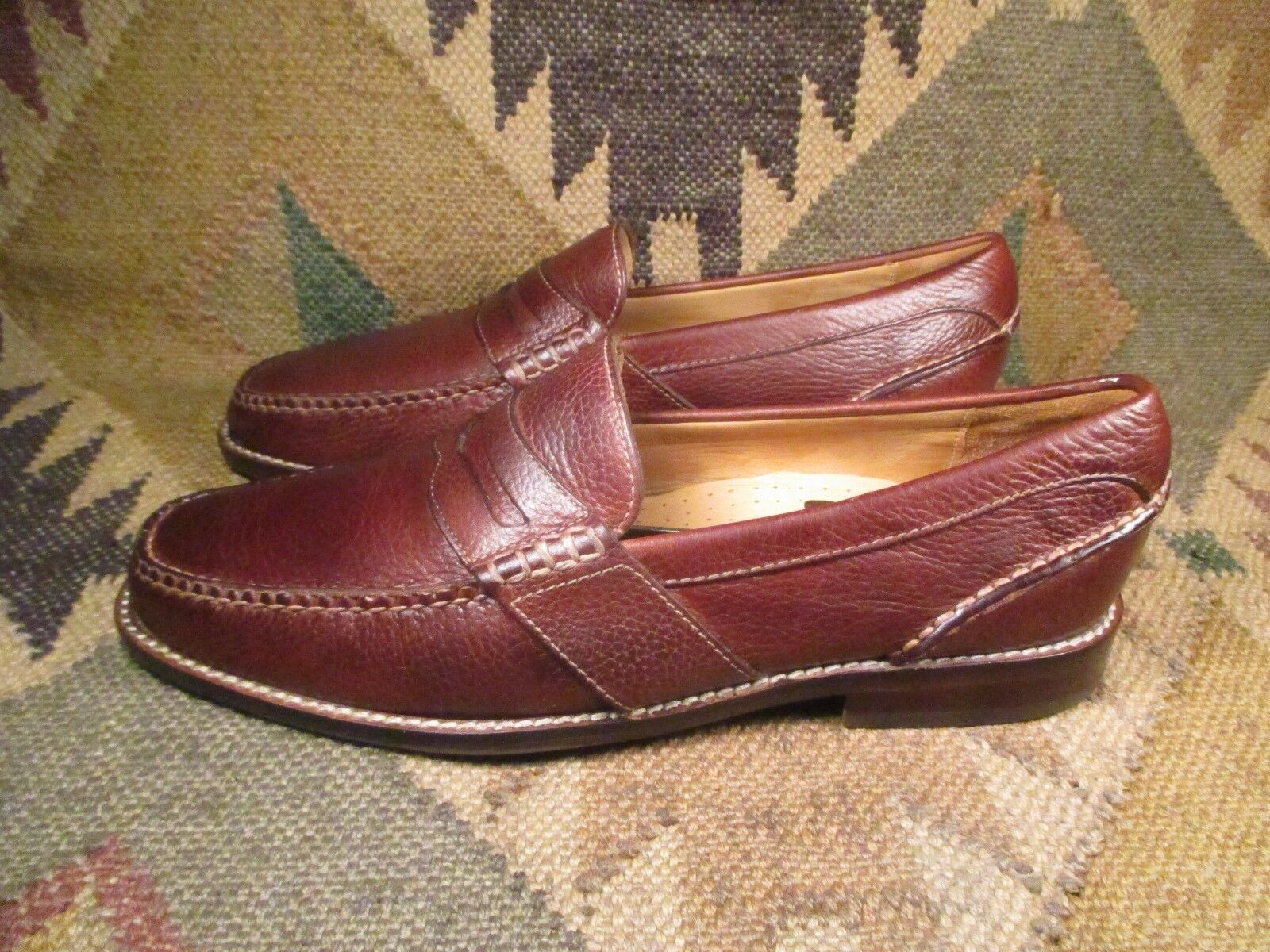 SPERRY TOP-SIDER  GOLD Penny CUP Braun TextuROT Leder Penny GOLD Loafers  Größe USA 10M 058622