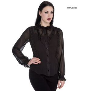 Hell-Bunny-Elegant-Goth-Shirt-Ruffle-Top-DEMETRIA-Blouse-Black-Chiffon-All-Sizes