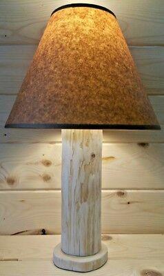 CEDAR LAMP CABIN DECOR RUSTIC LOG TABLE LAMP W//FREE JOHN WAYNE LAMP SHADE