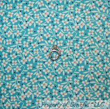 BonEful Fabric Cotton Quilt Aqua Blue Flower B&W Orange Dot Shabby Chic US SCRAP