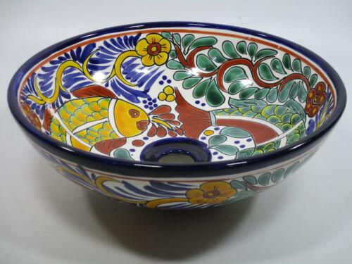 "14/"" round TALAVERA VESSEL SINK Mexican handmade ceramic bathroom basin folk art"