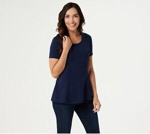 Isaac Mizrahi Live Women's Size XS Short-Sleeve Seamed Peplum Knit Top Navy Blue