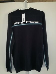 01516c3293ad Image is loading Palace-Skateboards-Fader-Pipe-Knit-Black-Cyan-Longsleeve-