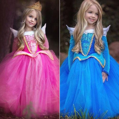 Girls Kid Sleeping Beauty Princess Aurora Cosplay Costume Party Fancy Dress 3-8Y