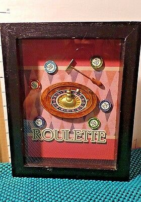 Shadow Box, Roulette Wheel, w/Ball, Chips, & Rake