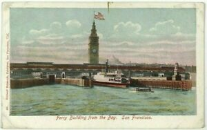 Ferry-Boat-Building-From-San-Francisco-Bay-California-CA-Vintage-1900-039-s-Postcard