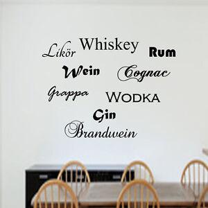 wandtattoo spr che wandsticker bar esszimmer wein gin alkoholische getr nke ebay. Black Bedroom Furniture Sets. Home Design Ideas