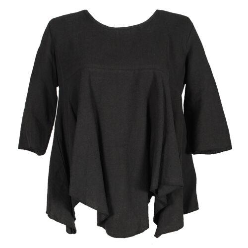 Tunika 100/% Leinen Schwarz mit Zipfel XADOO Plus Size Lagenlook Übergröße 42 44