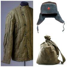 SET 3 USSR Vintage Telogreika jacket + Ushanka + Backpack MEMORIAL DAY SALE