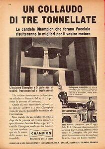 Pubblicita-Advertising-Werbung-1956-isolatore-CHAMPION-Tim-Flock