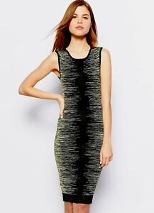 6967916762 New Karen Millen black neon green bodycon space dye knit dress UK 10 ...