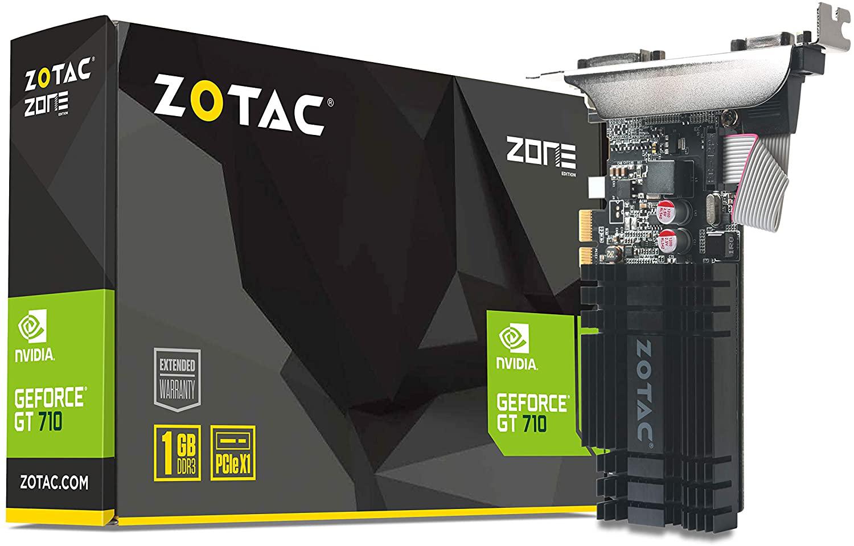 ZOTAC GeForce GT 710 1GB DDR3 PCIE x 1 , DVI, HDMI, VGA, Low Profile Graphic Car