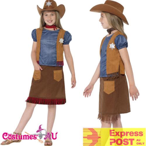 Girls Kids Western Belle Cowgirl Costume Sheriff American Wild West Fancy Dress