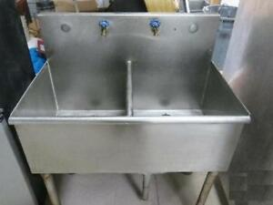 Details About Stainless Steel Utility Sink Self Free Standing Pedestal  Double Bowl Laundry