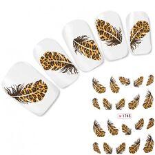 Tattoo Nail Art Aufkleber Feder Leopard Feather Nagel Sticker Neu!