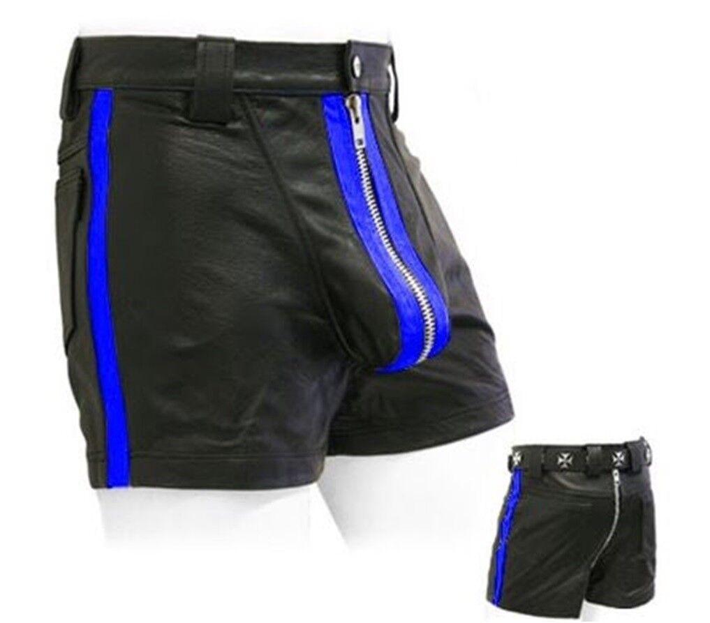 Awanstar Ledershorts blueen streifen Leder Shorts,Kurze lederhose,leder shorts