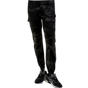 $98 Kennedy Denim Co The Rugger Cargo Jogger Pants black camo