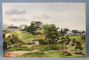 1860-Inger-Maria-BURTON-officer-039-s-quarters-and-barracks-JAMAICA-29-5-x-45cm