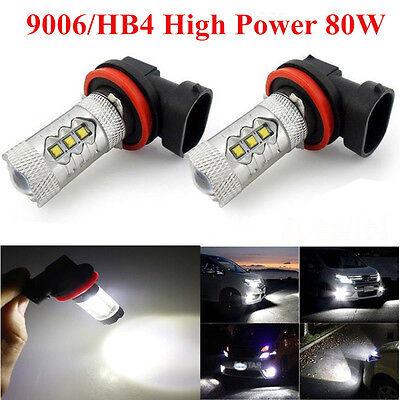2x 6000K White 9006 HB4 High 80W CREE LED Bulbs Car Fog DRL Driving Light 1500LM