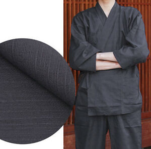 Japonais Samue Men/'s Traditional Work Wear Kimono Tsumugi Set Noir du Japon