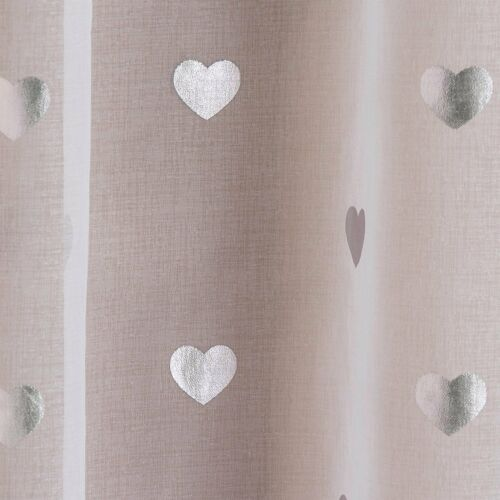 SILVER HEARTS VOILE PANEL DECORATIVE METALLIC MUSLIN EFFECT WHITE NET CURTAIN