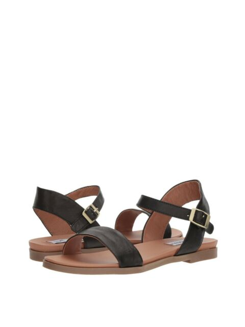 6f0eb06816d Women s Shoes Steve Madden DINA Casual Leather Ankle Strap Flat Sandals  BLACK