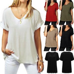 d15480005be3 Summer Women s Oversized Short Sleeve V Neck T Shirt Tee Blouse ...