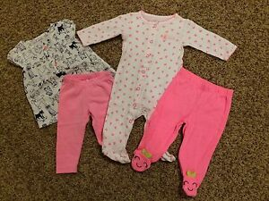 01f7a3751 Pre-Owned Used Carter s Baby Girl Outfits Cherry   Dogs Pink Infant ...
