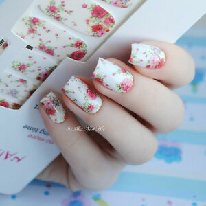 Red-Flowers-Image-Nail-Art-Full-Decals-Wraps-Transfer-Stickers-DIY-Tips