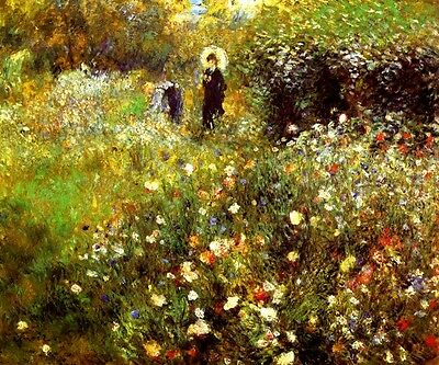 SUMMER LANDSCAPE WILD FLOWERS 1873 FRENCH IMPRESSIONIST PAINTING BY RENOIR REPRO