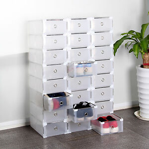 24 plastique empilable bo te chaussures housse tiroir stockage rangement ebay. Black Bedroom Furniture Sets. Home Design Ideas