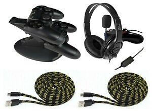 PS4-Set-Gaming-Headset-Controller-Ladestation-2x-Ladekabel-3-Meter-fuer-PS4