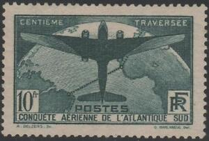 FRANCE-N-321-034-TRAVERSEE-ATLANTIQUE-SUD-AVION-10F-VERT-FONCE-034-NEUF-xx-TTB