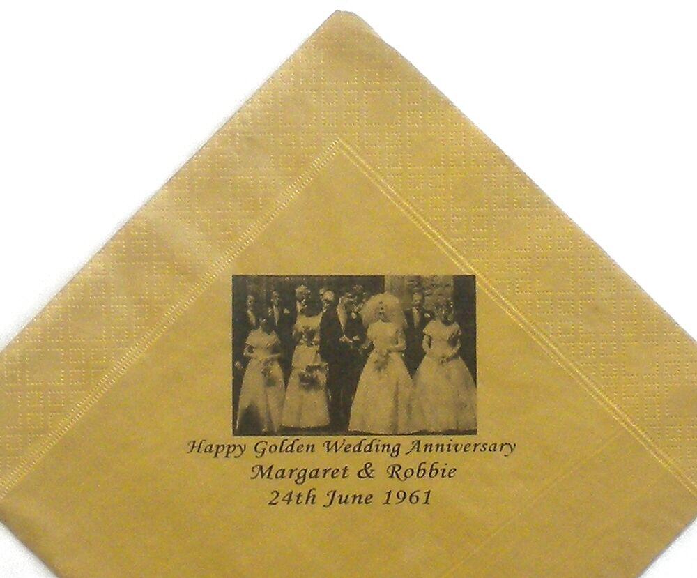 30 Gold Personalisiertes Foto Papierservietten 40cm 3-lagige Geburtstag