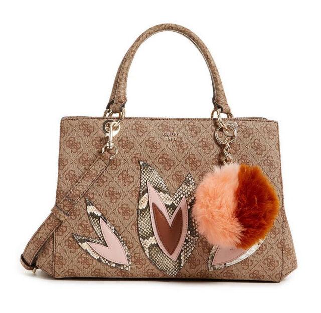 NWT GUESS Jaden Girlfriend Satchel Handbag Logo print Embroidered Brown Pom  pom c1d356e43b010