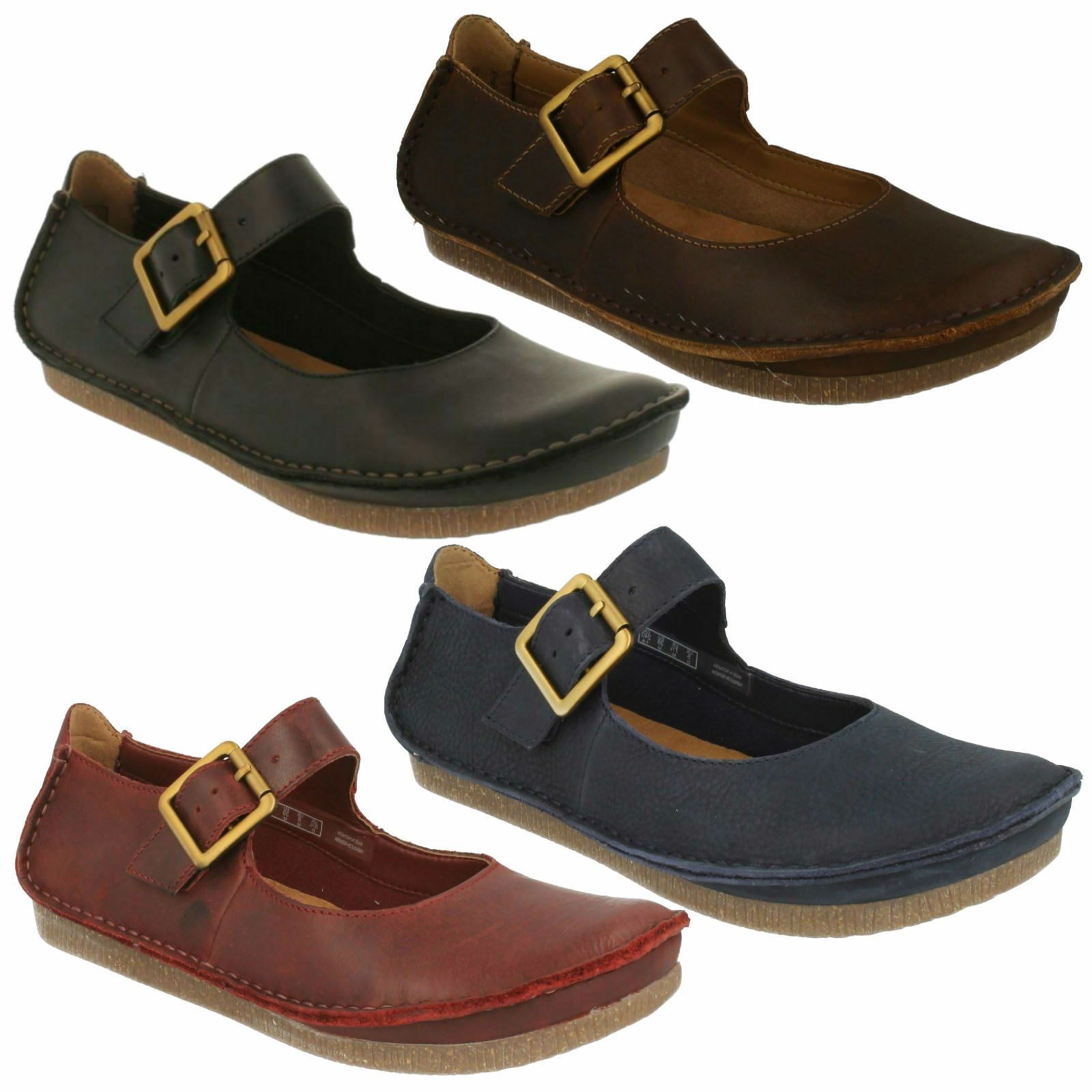 LADIES CLARKS CASUAL MARY JANE STYLE LEATHER BUCKLED BAR FLAT CASUAL CLARKS SHOES JANEY JUNE d7cda7