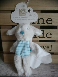 Intelligente Doudou Chien Blanc Rayures Bleues Mouchoir Blanc Sucre D'orge Neuf + Cadeau