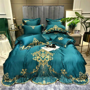 Luxury-Gold-Royal-Embroidery-Egyptian-Cotton-Bedding-Set-Duvet-Cover-Bed-Sheet