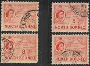 NORTH-BORNEO-1954-QE-II-PICTORIAL-DEFINITIVE-8cX4-FINE-USED
