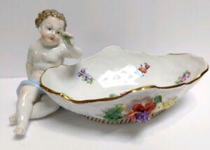 Dresde plat Cherub figurine Appliqué fleurs peint à la main sachsische RARE 1902-afficher le titre d`origine PNCe9unu-09155808-746781421