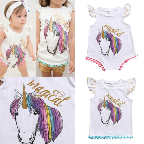 Big//Little Sister Kids Girls Baby Unicorn Fringe Matching T-shirt Romper Clothes