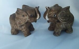Bradley Exclusive Salt and Pepper Shakers RARE Ceramic Wood Textured Elephant