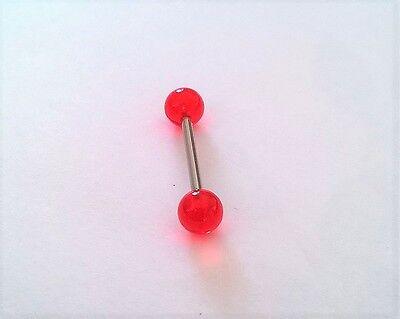 Piercings Piercing Barbell Langue Acier Chirurgical 1.6x16mm Rouge Transparent Pie0393 Bijoux, Montres