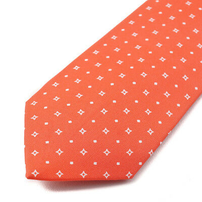 NEW MARINELLA NAPOLI Red with White Pattern 100/% Silk Pocket Square E