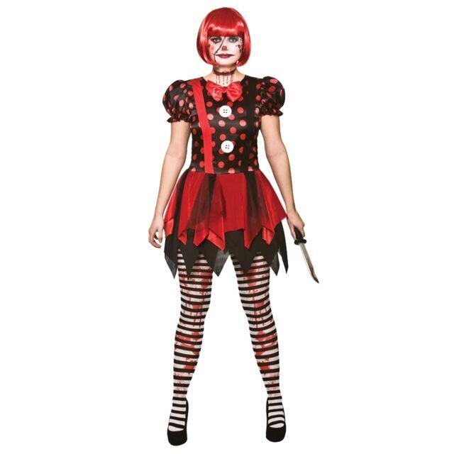 Mens Bloody Clown Halloween Horror Circus Carnival Fancy Dress Costume